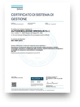 Bresolin zertifizierten ISO 14001