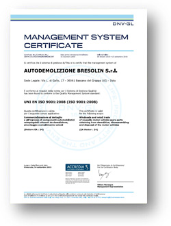 Bresolin certification ISO 9001