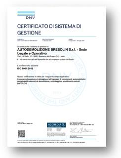 Bresolin zertifizierten ISO 9001